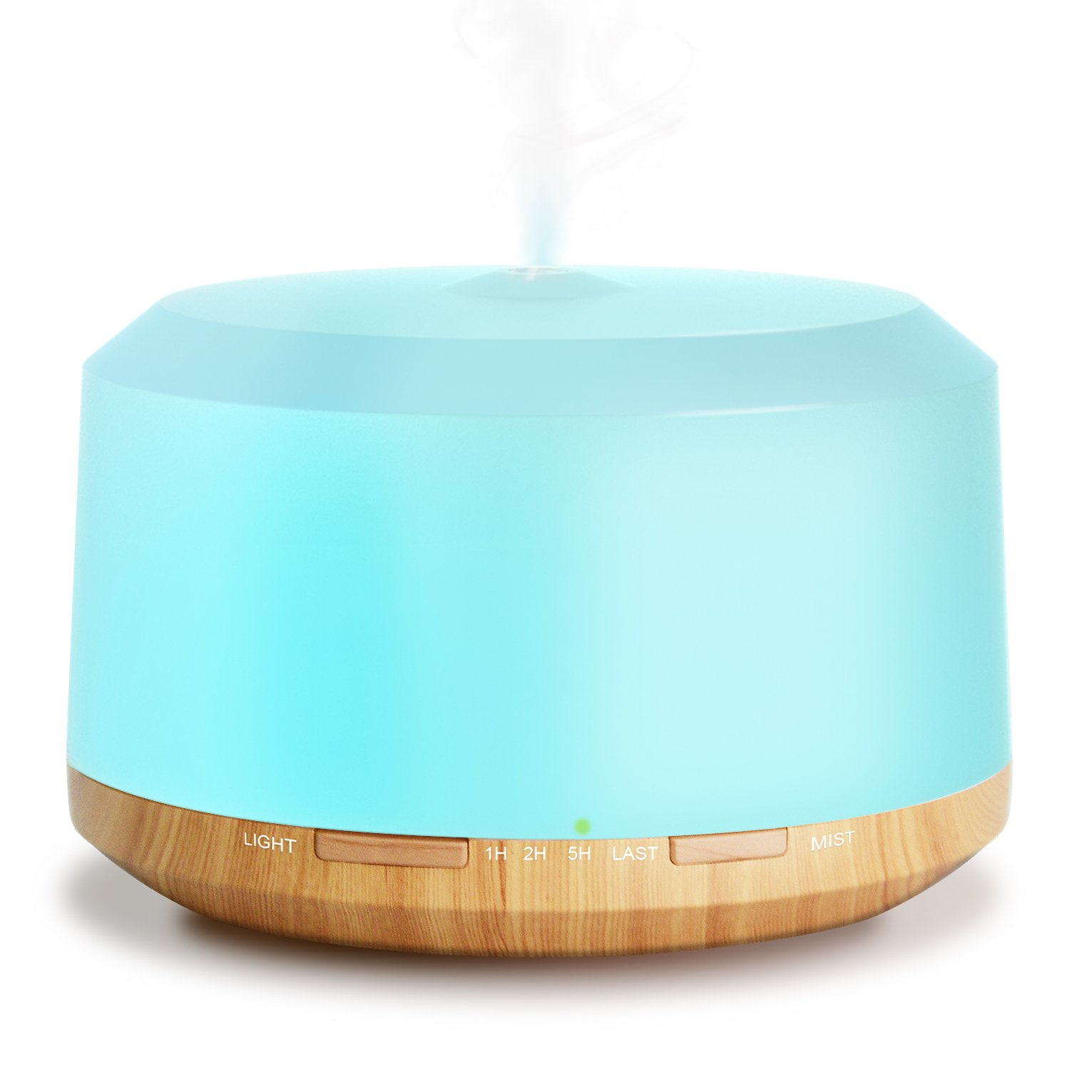 New 450ml Half Wood Grain Aromatherapy Essential Oil Diffuser, ZOOKKI Ultrasonic Diffusers Humidifiers for Essential Oils with 8 Color Changing Lights 4 Timer Setting and Water-less 1 Pack
