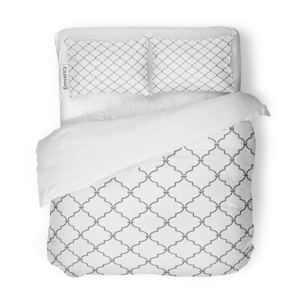 SanChic Duvet Cover Set Pattern Metal Lattice Window Abstract Fence Steel Mesh Decorative Bedding Set with 2 Pillow Shams King Size