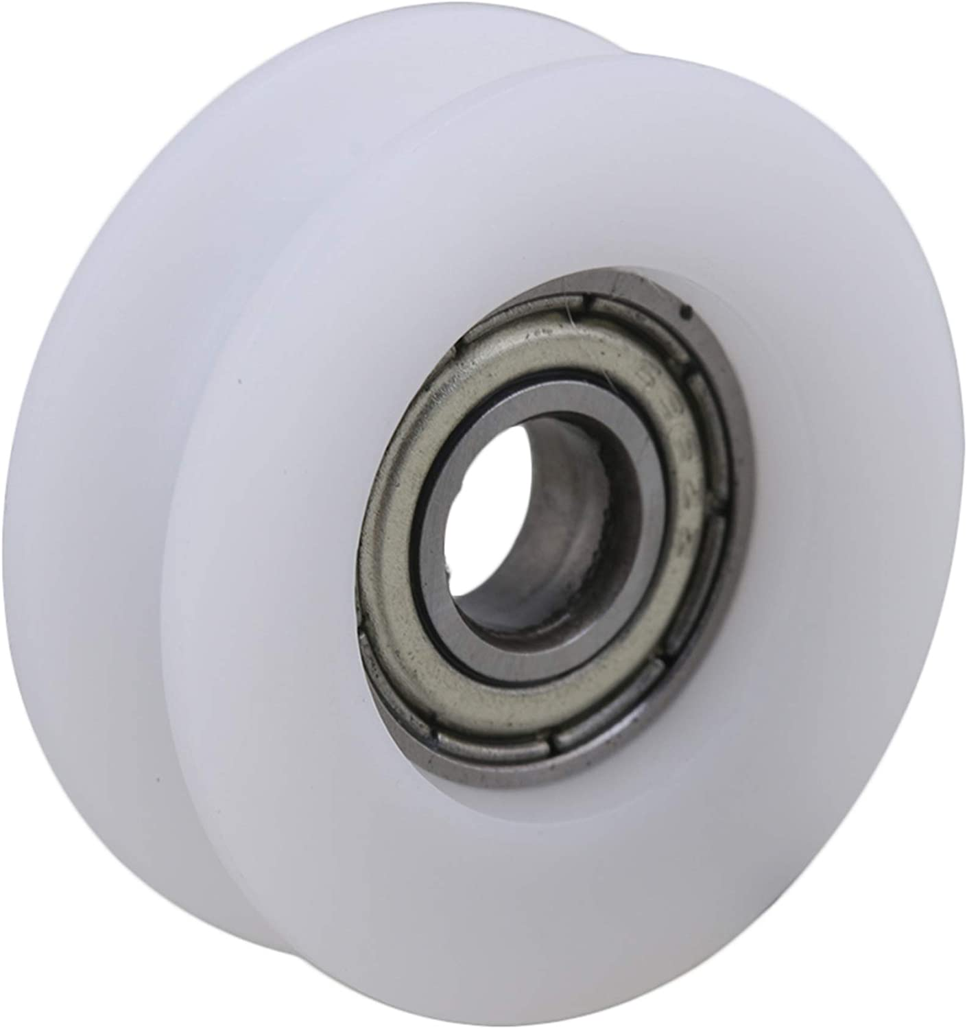 CNBTR 4Pieces 6x27x9mm Flat Plastic Coated Sealed Bearing Steel 696ZZ Deep U-Type Guide Pulley Rail Ball Rolling Bearing Wheel White
