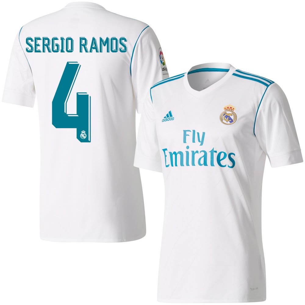 463a5d3e3b3 Player Print - adidas Performance Real Madrid Home LFP Sergio Ramos 4 Shirt  2017 2018 (Official Printing) - XXXL  Amazon.co.uk  Sports   Outdoors