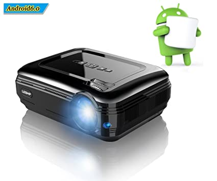 LESHP Proyector LED de Video 1080P HD 3200 Lúmenes, Proyector Portátil Cine en Casa, Inalámbrica WIFI Bluetooth 4.0 Android 6.0 para Películas Juegos, ...