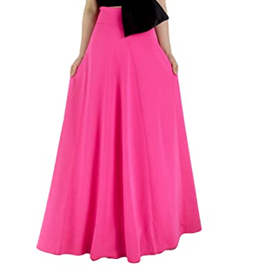 91ad9e208 YSJERA Women's High Waist A-Line Pleated Solid Vintage Swing Maxi Skirts  Midi Skirt Party