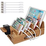 Bamboo Charging Station Organizer for Multiple Devices & Wood Desktop Docking Charging Stand Such As Cell Phone, Tablets, Pho