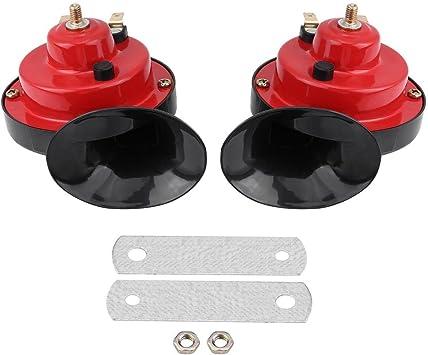 Horns Car Or Truck Universal Electric Air Horn,Pair of PC Dual-tone Loud Car Snail Air Horn 12V 135db Snail Shape Loud Air Horn Set Universal for Truck Car Boat Bike Red//Black