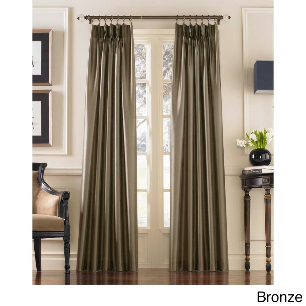 Amazon.com: Curtainworks Marquee Faux Silk Pinch Pleat Curtain Panel, 30 by  132