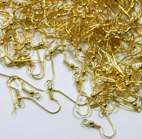 10 Coil Search (Forever Yung Surgical Steel Earring Earwires Hypoallergenic Gold Plated Fishhook with 10x3.5mm Ball and Coil with Open Loop, 21 Gauge.(About 100 Pairs))