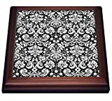 3dRose trv_151442_1 Damask with Stylish Swirly French Floral Pattern Vintage Sophisticated Flowery Wallpaper Trivet with Ceramic Tile, 8 by 8'', Brown