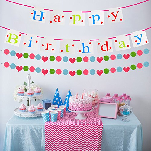 COM4SPORT Happy Birthday Banner with 2 Sets Of Colorful Heart-Shaped and Round Garland, Birthday Party Supplies for Any Age