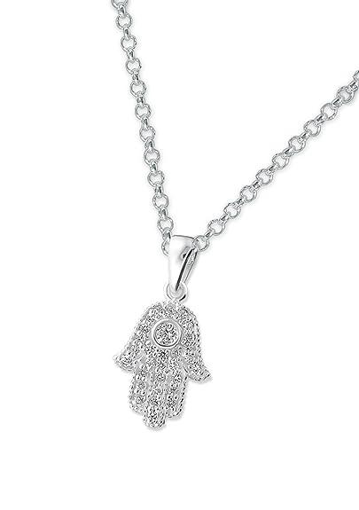 nouveau concept 7d5f8 7008b Laimons Collier avec pendentif pour femme main de Fatma brillant zircone  argent sterling 925