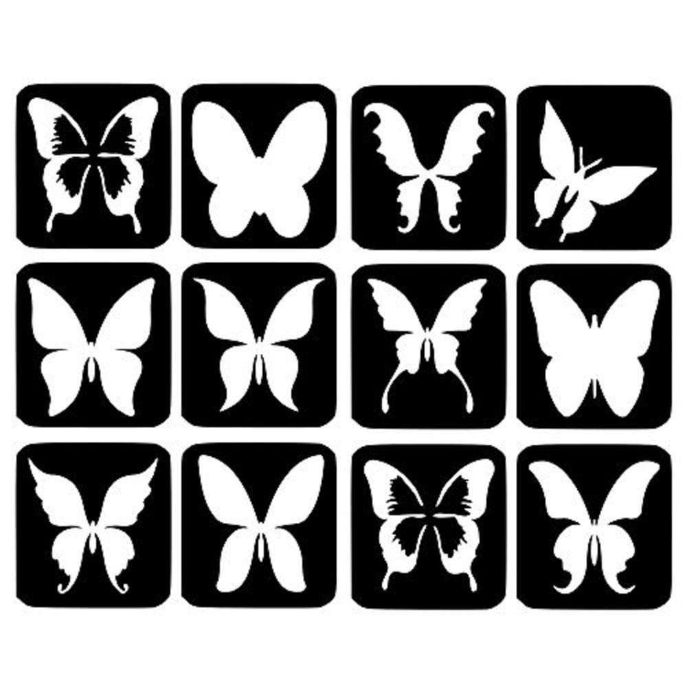 Butterfly Glitter Tattoo Stencils - 12 Large Refill Stencils Face Painting Airbrush Festivals (2. Butterfly) NA