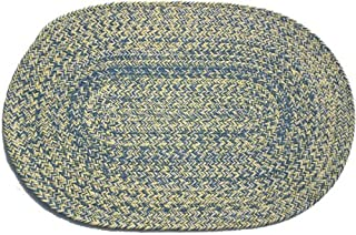product image for Oval Braided Rug (2'x3'): Williamsburg Blue, Yellow & Cream - Williamsburg Blue Band