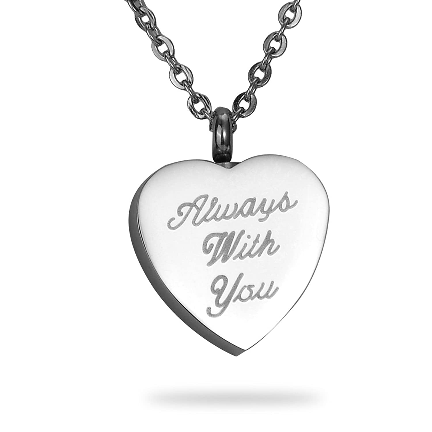 HooAMI Cremation Jewelry Heart Urn Pendant Necklace Memorial Ash Keepsake
