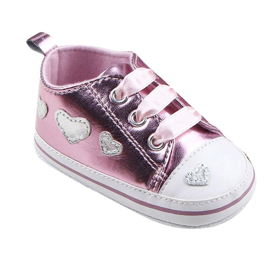 BUYEONLINE Baby Girl Lovely Lace Up Soft Sole Crib Baby Shoes Infant Sneaker