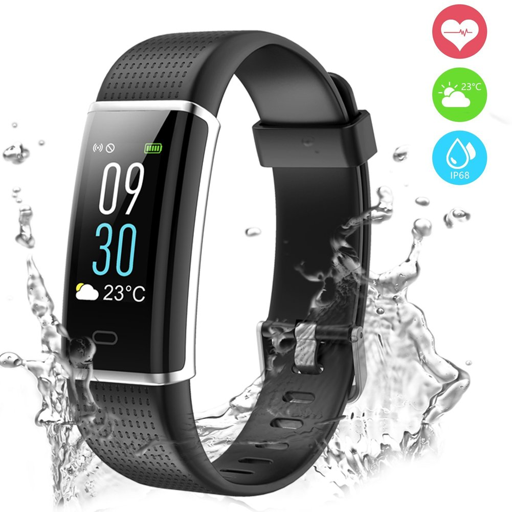 Chianruey Fitness Tracker, Activity Tracker with Heart Rate Monitor,IP68 Waterproof Smart Watch with Calorie Counter Watch Sleep Monitor Pedometer Steps Counter for Kids Women Men (Black)