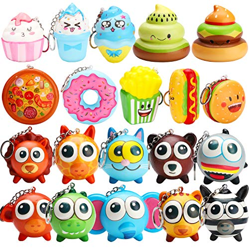 WATINC 20 Pcs Kawaii Colorful Food and Animals Set Key Chain Mini Soft Donut Squishy Cream Scented Stress Relif Toy, Party Supplies Decorative Props Gift Hand Toy for Kids
