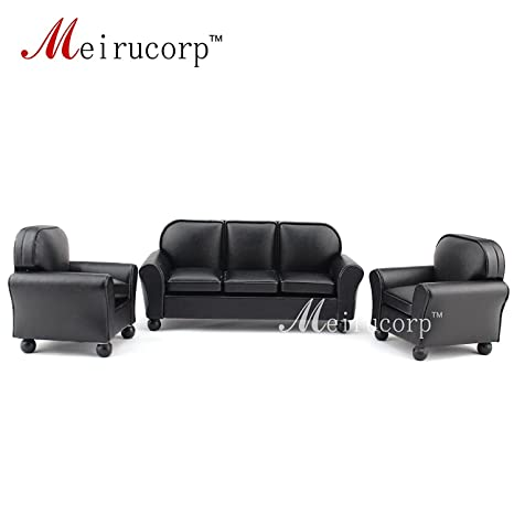 amazon com dollhouse furniture 1 12 scale miniature black leather
