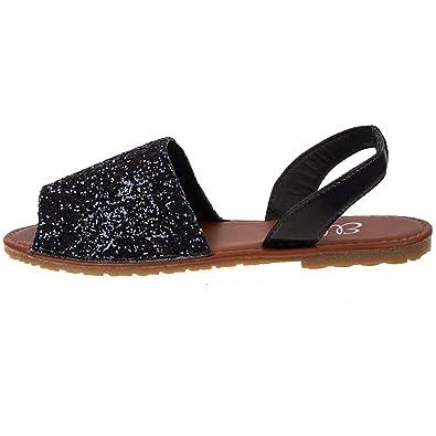 a7c2a46e3b48 Ladies ELLA Glitter Slingback Flat Menorcan Open Toe Spanish Sandals Black  UK 4