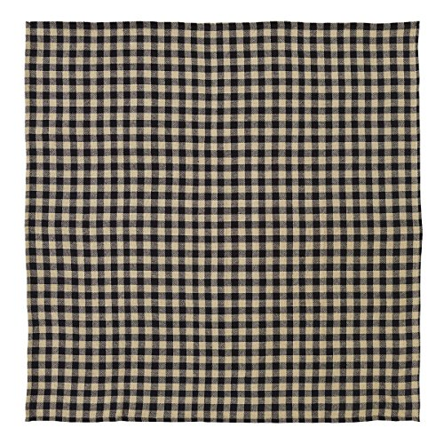 VHC Brands Burlap Black Check Table Topper (Plaid Overlay)