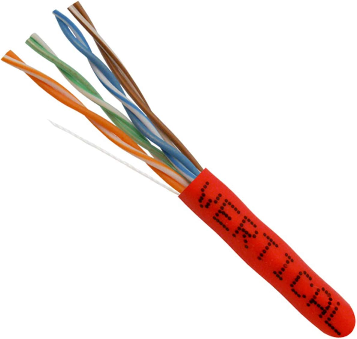 Red UTP 24AWG 1000ft Vertical Cable Cat5e 350 MHz 8C Solid Bare Copper Bulk Ethernet Cable 151 Series