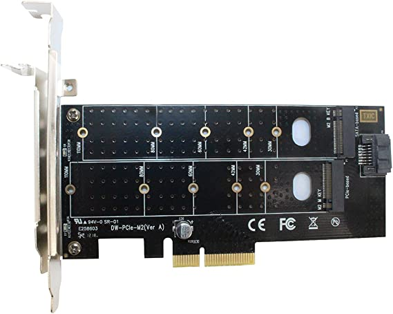 Dual M.2 PCIe Adapter b Key or SATA m Key 22110 2280 2260 2242 2230 to PCI-e 3.0 x 4 Host Controller Expansion Card with Low Profile Bracket for Desktop PCI Express Slot M2 SSD NVME
