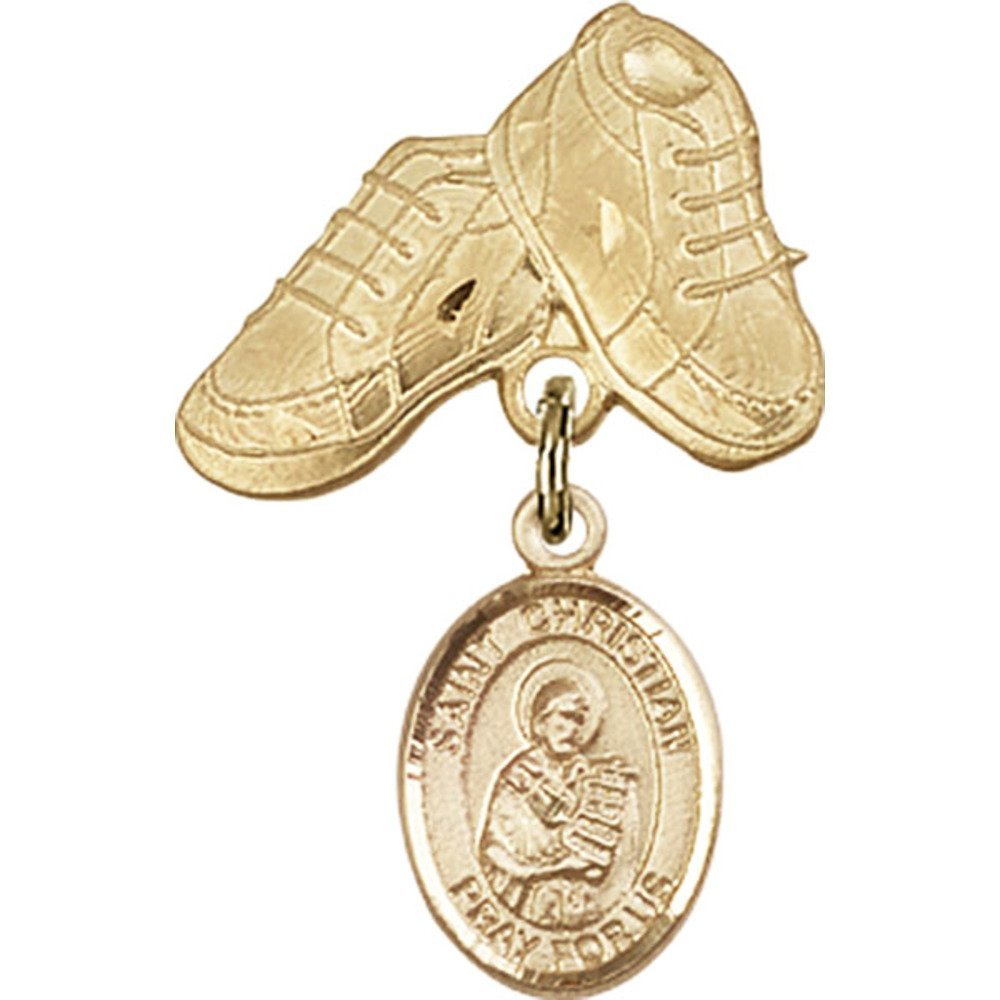 14kt Yellow Gold Baby Badge with St. Christian Demosthenes Charm and Baby Boots Pin 1 X 5/8 inches by Unknown