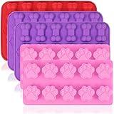 AIFUDA Hundtass- och benformade silikonformer, 5 st matkvalitet valpgodisbrickor, återanvändbara bakredskap för bakning…