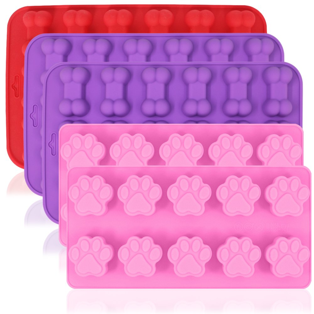 AIFUDA Dog Paw Bone Shaped Silicone Molds, 5 Pcs Food Grade Puppy Treat Trays, Reusable Bakeware Baking Chocolate Candy Jelly, Oven Microwave Freezer Dishwasher Safe -Pink, Purple, Red