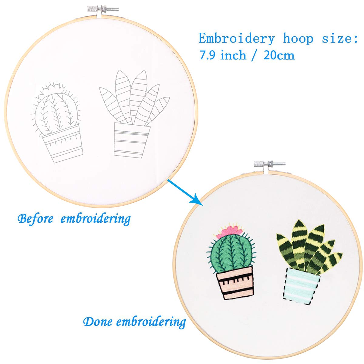 2 Pack Embroidery Starter Kit with Pattern Bamboo Embroidery Hoop Color Threads Tools Kit Plant and Cactus Kissbuty Full Range of Stamped Embroidery Kit Including Embroidery Cloth with Pattern