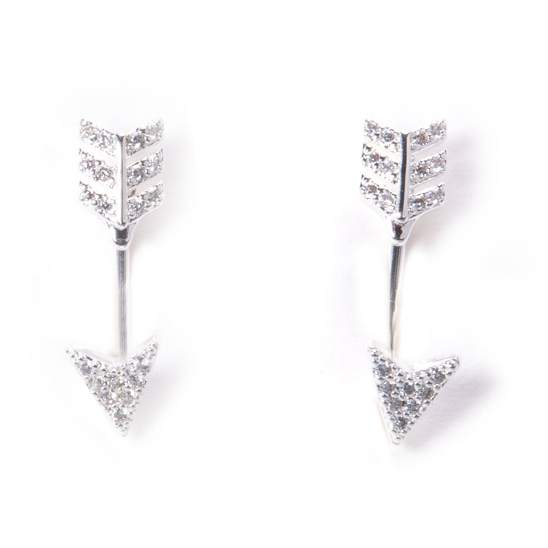 Cubic Zirconia Pavé Behind-the-Ear Arrow Earrings - Silver