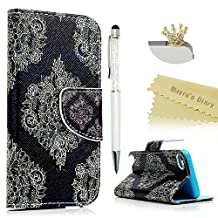 Touch 5,Touch 6 Wallet Case - Mavis's Diary Premium PU Leather with Magnetic Clasp Card Holders Flip Cover for iPod Touch 5th & 6th Generation with Golden Crown Dust Plug & Crystal Pen (Totem Flower)