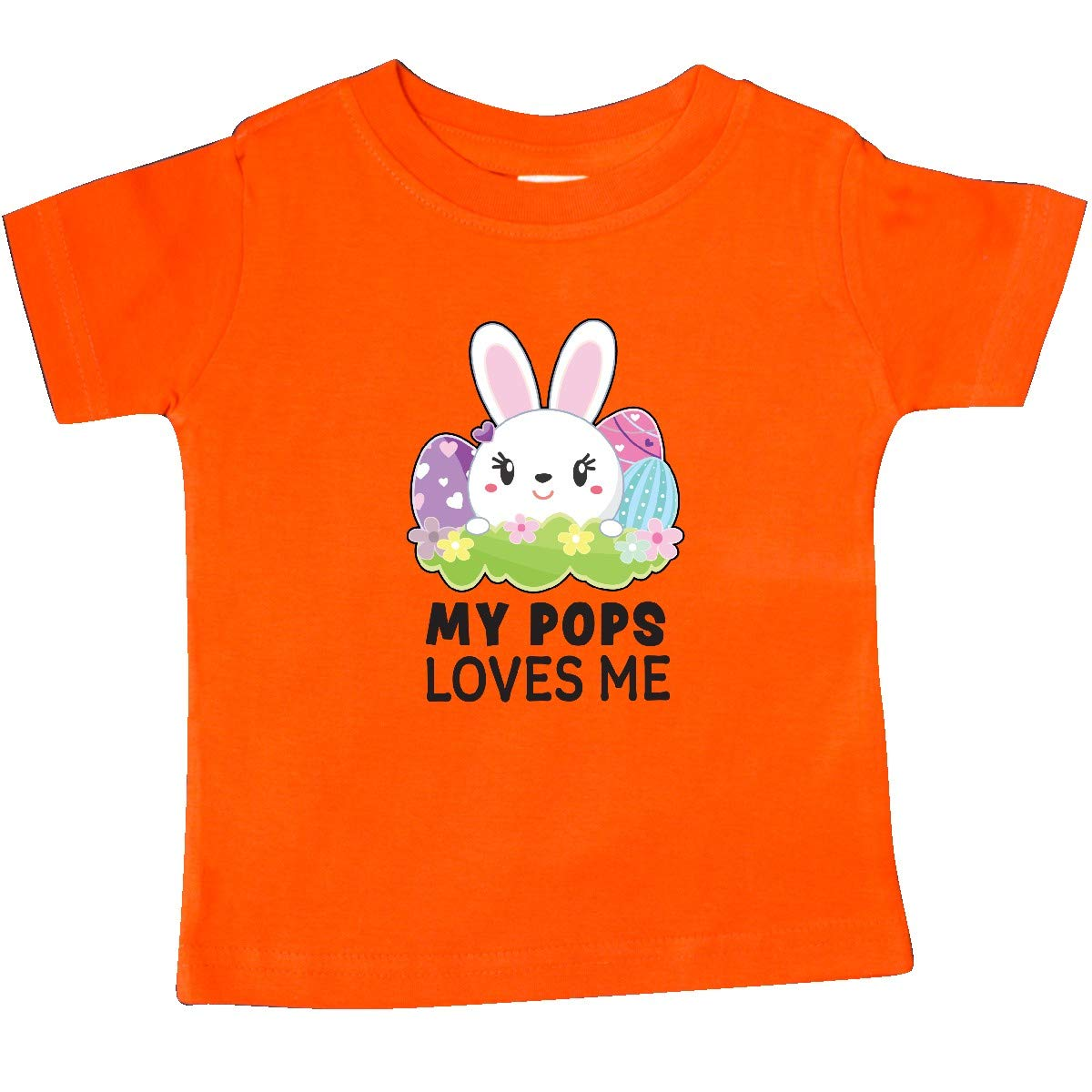 inktastic My Pops Loves Me with Bunny and Easter Eggs Baby T-Shirt