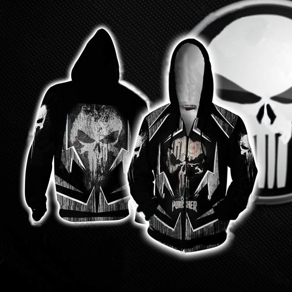 ZXFD058 New Punisher Series 3D Printed Hoodie Couple Baseball Suit