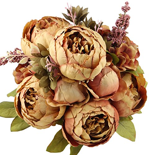 Brown Peony - LeagelFake Flowers Vintage Artificial Peony Silk Flowers Bouquet Wedding Home Decoration, Pack of 1 (Coffee)