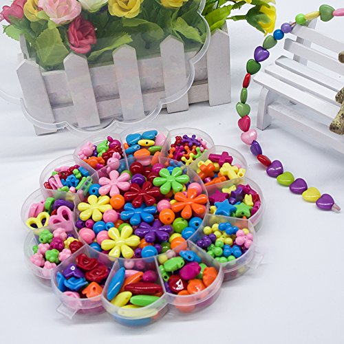 [BIBNice Jewelry Beads Toys DIY Jewelry for Children Colorful Necklace and Bracelet Crafts Set (420PCS)] (Necklace Love Beads)