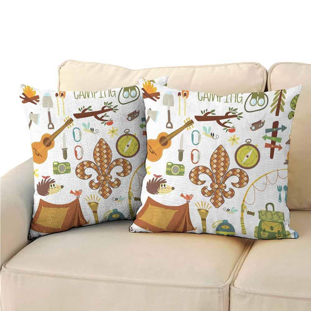 QIAOQIAOLO Pack of 2 Bedroom Pillowcase Fleur de Lis Double-Sided Printing 24x24 inch Camping Equipments Boy Scout Campfire Symbol Fishing Lure Fancy Decorations Lake Brown Mustard Green White by QIAOQIAOLO