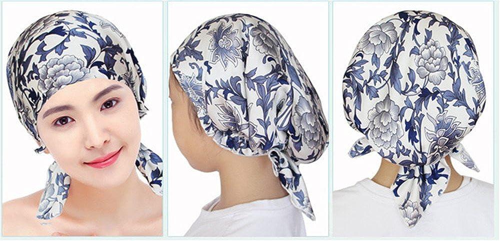 TanQiang Fashion Women Real Silk Turban Cap Beauty Salon Cap Night Sleep Cap Head Cover Satin Bonnet Hat for Chemotherapy Cap