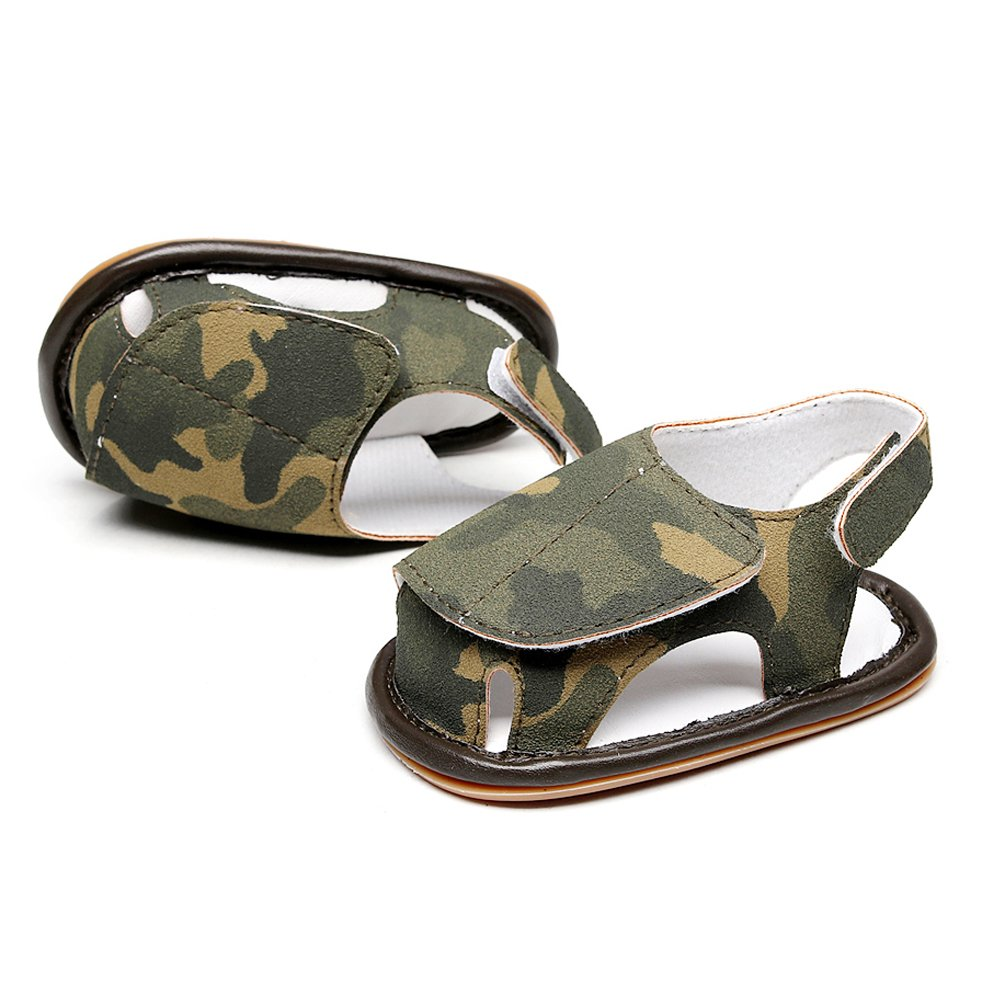 HONGTEYA Baby Boys Girls Breathable Camouflage Summer Sandals Rubber Sole PU Leather Moccasins Toddlers Infant Shoes