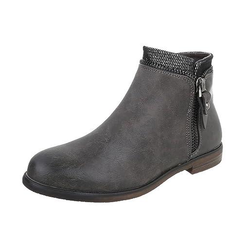 Ital-Design Zapatos para Mujer Botas Tacón Ancho Botines Chelsea: Amazon.es: Zapatos y complementos