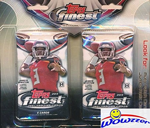 Autographed Football Card (2015 Topps Finest NFL Football Factory Sealed HOBBY Hanger with 2 Packs! Look for Rookie Cards, Atomic Refractors & Autographs of Marcus Mariota, Jameis Winston, Todd Gurley & Many More! WOWZZER!)
