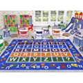 Ottomanson Jenny Collection Light Blue Frame with Multi Colors Kids Childrens Educational Alphabet (Non-Slip) Area Rug, Blue, 50 x 66