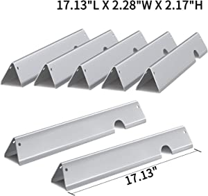 "SHINESTAR 66033 Flavorizer Bars for Weber Genesis II 400 Series Gas Grill, Heavy Duty Stainless Steel, 17.13"" ×2.28"" ×2.17"", 7-Pack"