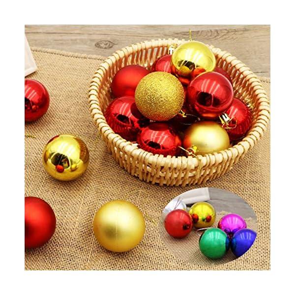 Palla di Natale Diametro 6 cm Albero di Natale Deco Appeso Palle per Albero di Natale Bauble Palla di Natale in Plastica Set Utilizzato per Decorazioni Natalizie per Feste Colore Misto (24 pezzi) 6 spesavip