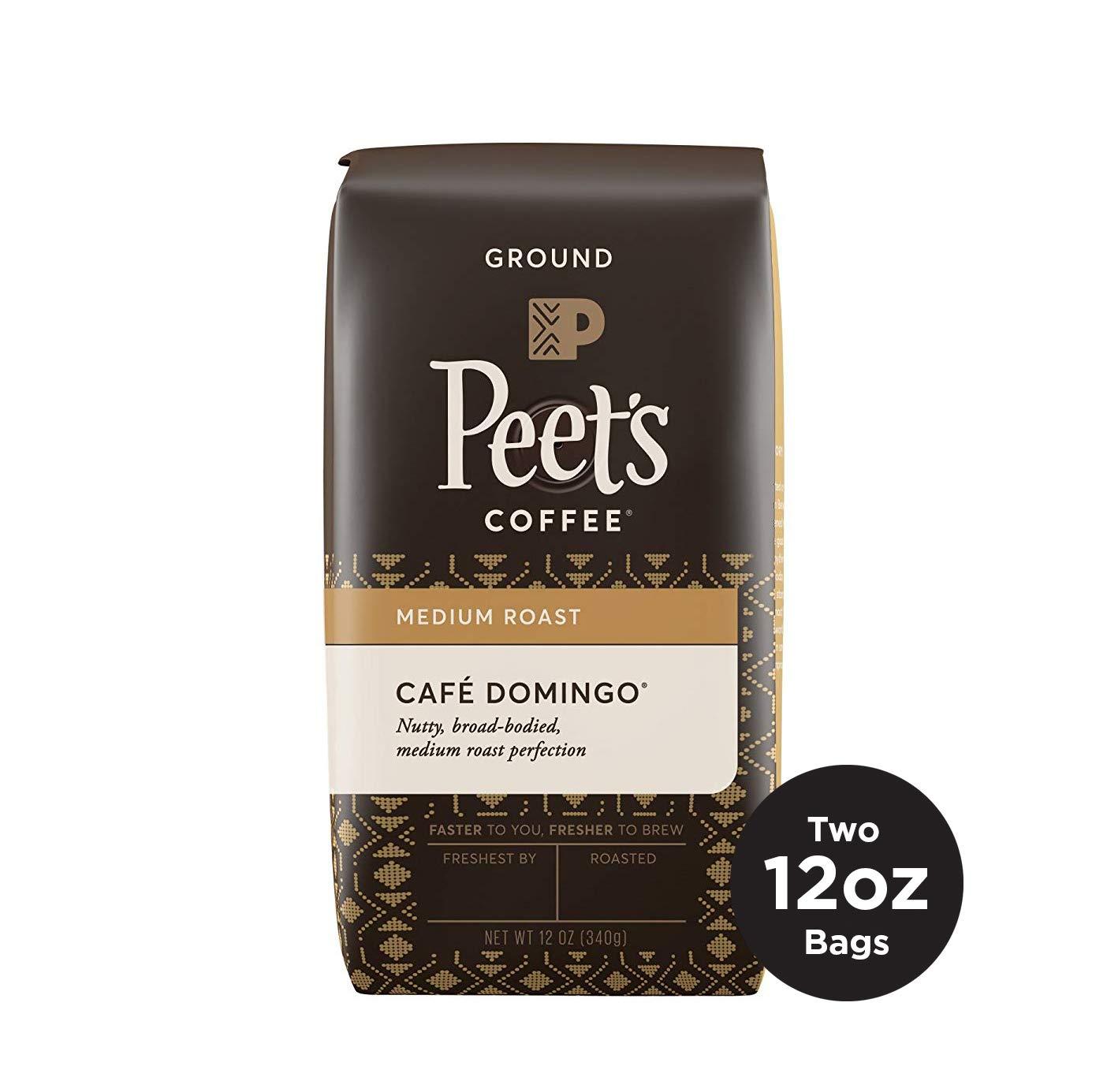 Peet's Coffee Café Domingo, Medium Roast Ground Coffee, 12 Ounce Bags (Pack of 2) Smoothly Sweet, Balanced, & Bright Medium Roast Blend of Latin American Coffees, with A Crisp, Clean Finish