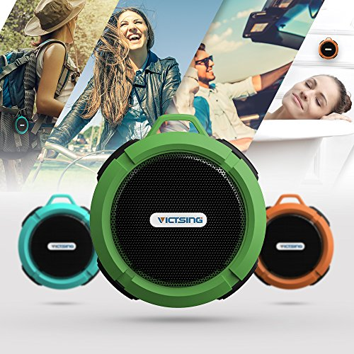 Image of the VicTsing Shower Speaker, Wireless Waterproof Speaker with 5W Driver, Suction Cup, Built-in Mic, Hands-Free Speakerphone - Army Green