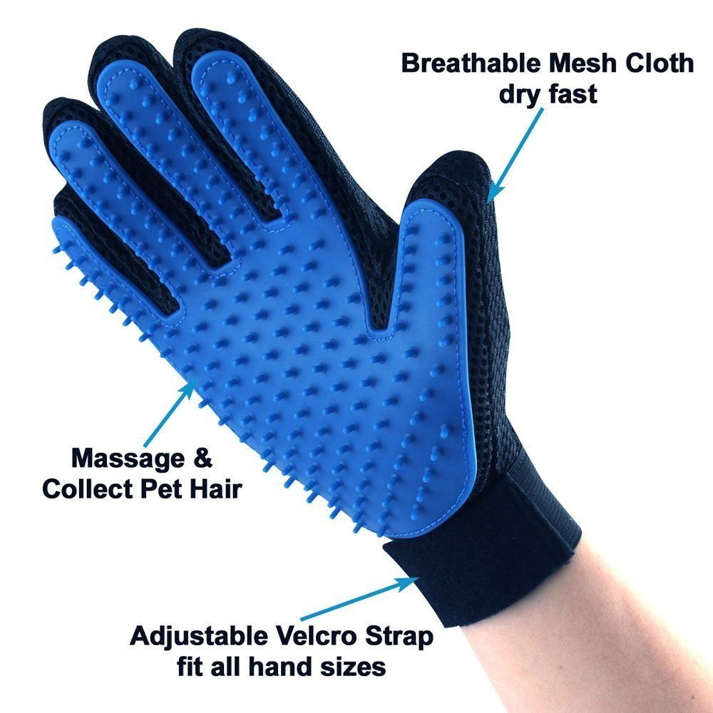 Pet Grooming Glove and Deshedding Glove Brush Best for Dogs & Cats Long & Short Fur Massage Tool with Enhanced Five Finger Design (1 Pair Blue)