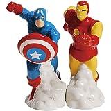 Westland Giftware Magnetic Ceramic Salt and Pepper Shaker Set, 4-Inch, Marvel Comics Captain America and Iron Man, Set of 2