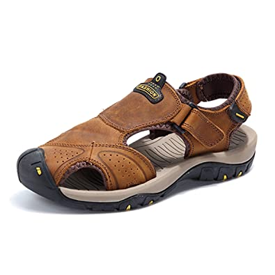 d49b204168c619 gracosy Mens Outdoor Hiking Sandals Absorption Leather Casual Sandals  Anti-Collision