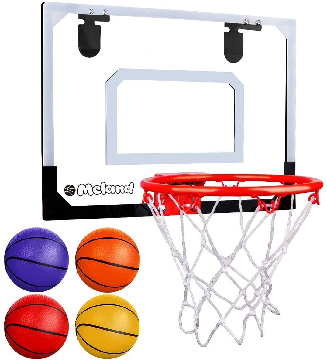 Meland Indoor Mini Basketball Hoop Set for Kids - Basketball Hoop for Door with 4 Balls & Complete Basketball Accessories - Basketball Toy Gifts for Kids Boys Teens