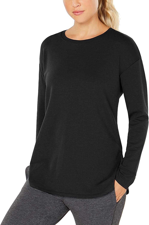 32 DEGREES Womens Long-Sleeve Fleece Top Black Medium