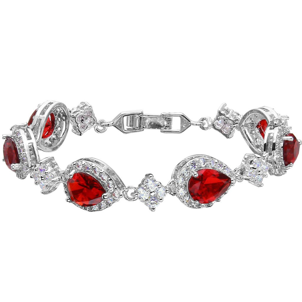 EVER FAITH Silver-Tone Full Zircon Wedding Tear Drop Link Bracelet Red Ruby-Color